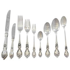Alexandra by Lunt Sterling Silver Flatware Set for 12 Service 118 Pieces