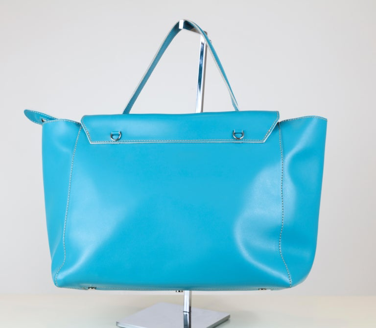 Alexandra DeCurtis Turquoise/Aqua, Leather, Calf Skin Satchel Bag with Removable Cross Body Strap