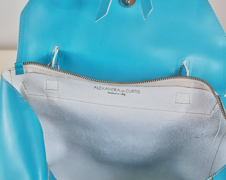 Alexandra DeCurtis Turquoise/Aqua, Leather, Calf Skin Satchel Bag For Sale 1