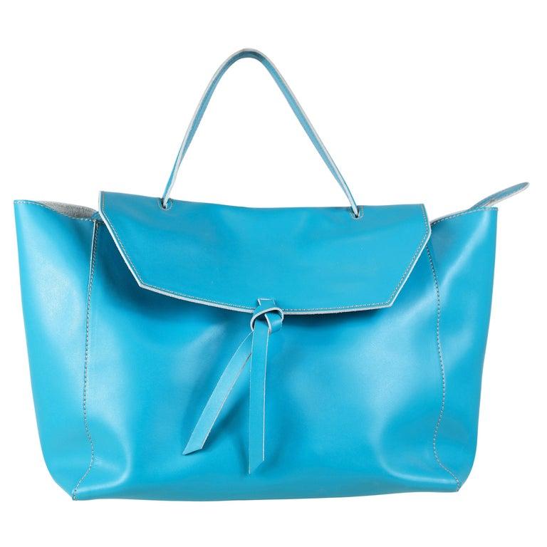 Alexandra DeCurtis Turquoise/Aqua, Leather, Calf Skin Satchel Bag For Sale