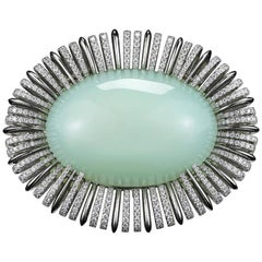 Alexandra Mor Andean Blue Opal Diamond Gold Platinum Two Finger Ring
