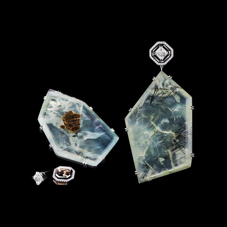 Contemporary Alexandra Mor Asscher-Cut Diamond and Prehnite Precious Stone Earrings For Sale
