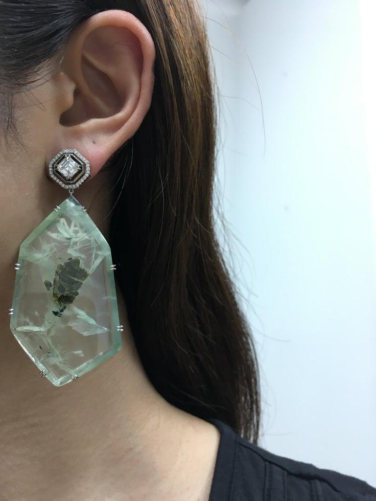 Asscher Cut Alexandra Mor Asscher-Cut Diamond and Prehnite Precious Stone Earrings For Sale