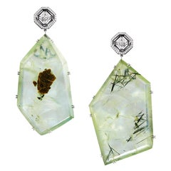 Alexandra Mor Asscher-Cut Diamond and Prehnite Precious Stone Earrings