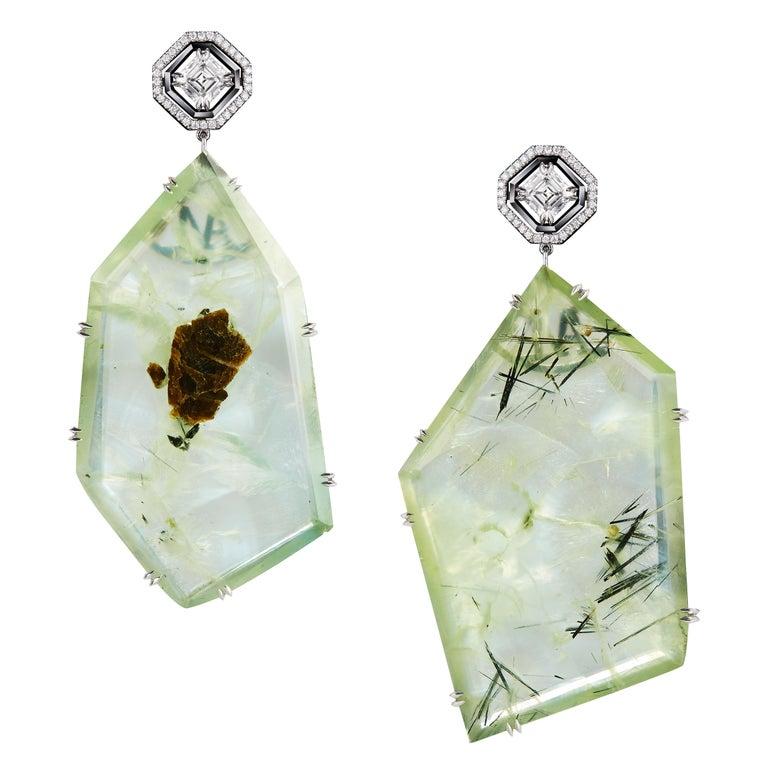 Alexandra Mor Asscher-Cut Diamond and Prehnite Precious Stone Earrings For Sale