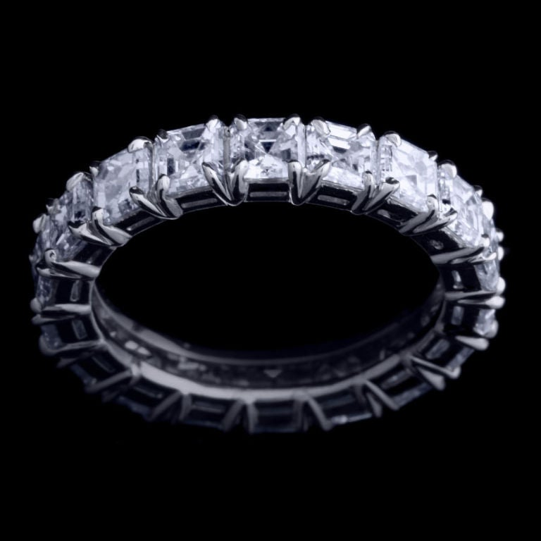 A 4.75 carat Asscher-cut Diamond eternity band crowned by Alexandra Mor knife-edged split-prong gallery. Diamonds are F color and VS clarity. Set in platinum. Also available in 18 karat yellow gold and 18 karat white gold. Limited Edition of 100.