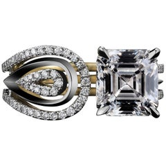 Alexandra Mor Asscher-Cut Diamond Feather Ring, 2.85 G VS1 GIA