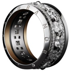 Alexandra Mor Asscher-Cut Diamond Platinum Signature Narrow Eternity Band Ring