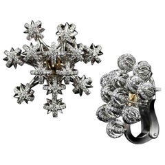 Alexandra Mor Diamond Gold Platinum Dome Snowflake Cluster Earrings