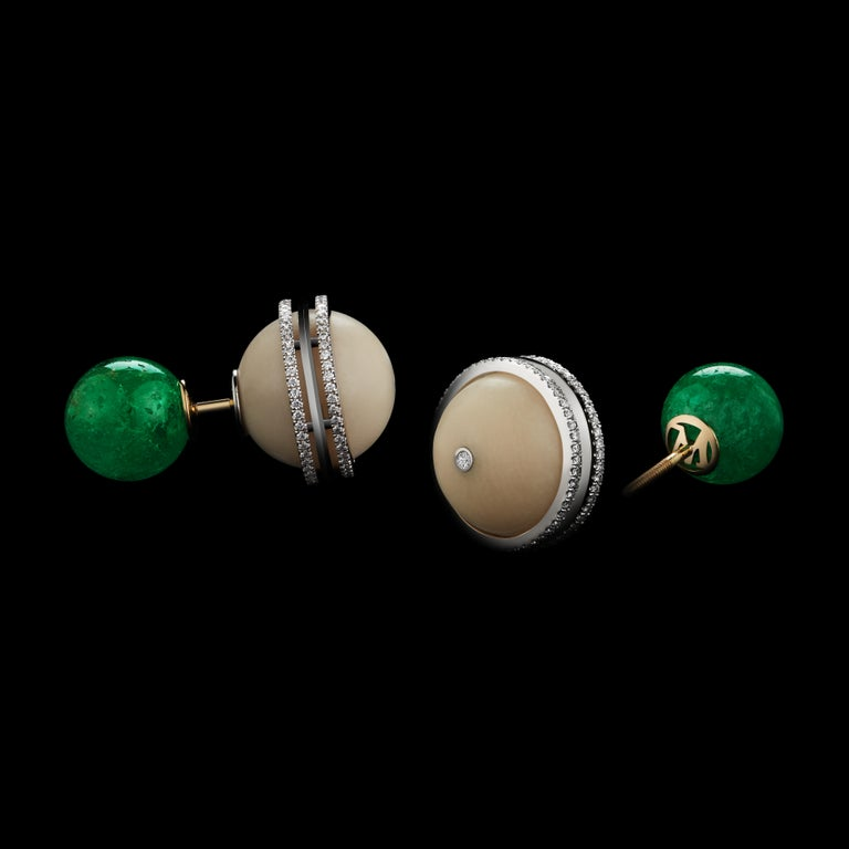An Alexandra Mor One-Of-a-Kind double-sided stud earring featuring 21.96 carats of ethically-mined *Muzo-Mine Emerald Beads and 25.22 carats of Tagua Beads. Platinum set on 18 KY Gold Alexandra Mor logo gallery with Alexandra Mor's signature details