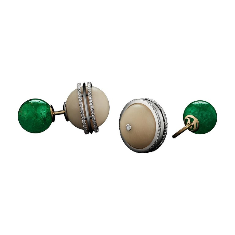 Alexandra Mor Double Sided Tribal Studs with Muzo-Mine Emeralds and Tagua Seed For Sale