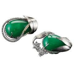 Alexandra Mor Emerald and Diamond Flower Earrings