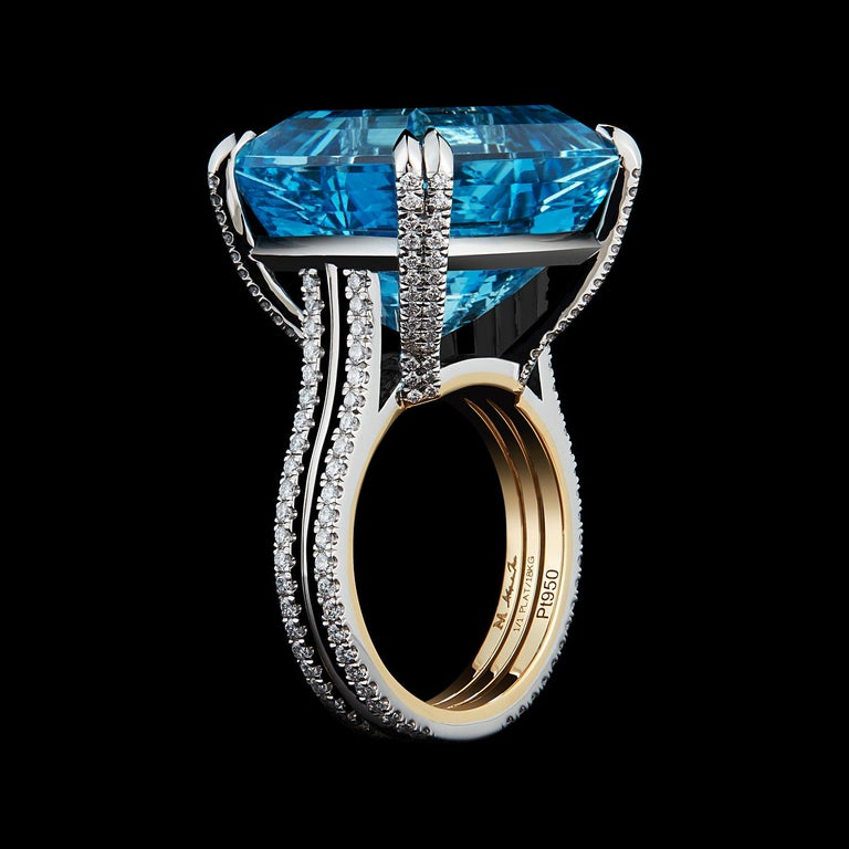 *Please contact us for more information on this piece or on creating your own Alexandra Mor custom Design.   A one-of-a-kind Alexandra Mor ring featuring a 23.45 carat Emerald-cut Aquamarine detailed with Alexandra Mor's signature 1mm knife-edged