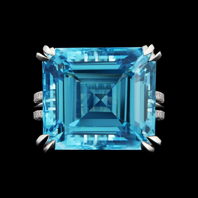 Contemporary Alexandra Mor Emerald-Cut Aquamarine and Diamond Ring For Sale