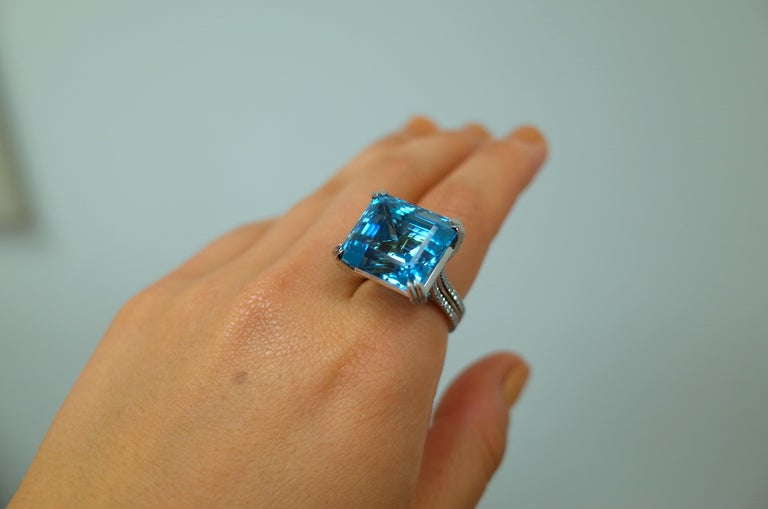 Emerald Cut Alexandra Mor Emerald-Cut Aquamarine and Diamond Ring For Sale