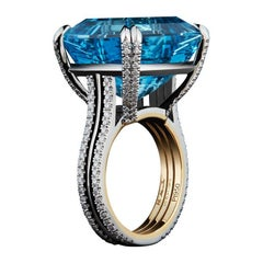 Alexandra Mor Emerald-Cut Aquamarine and Diamond Ring