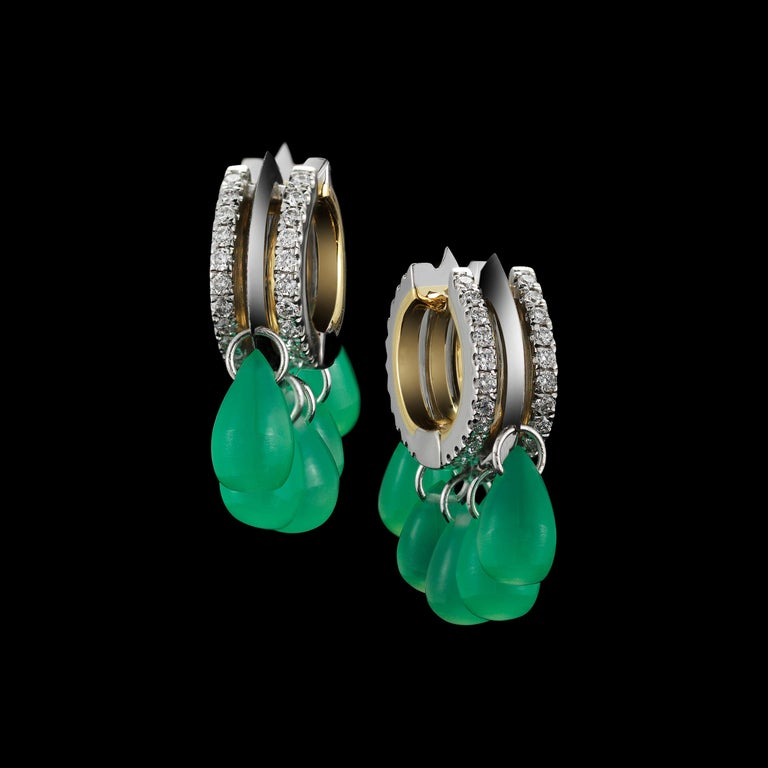 Alexandra Mor Green Chrysoprase Diamond Gold Platinum Hoop Earrings In New Condition For Sale In New York, NY