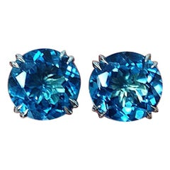 Alexandra Mor London 15.4 Carat Blue Topaz Stud Earrings