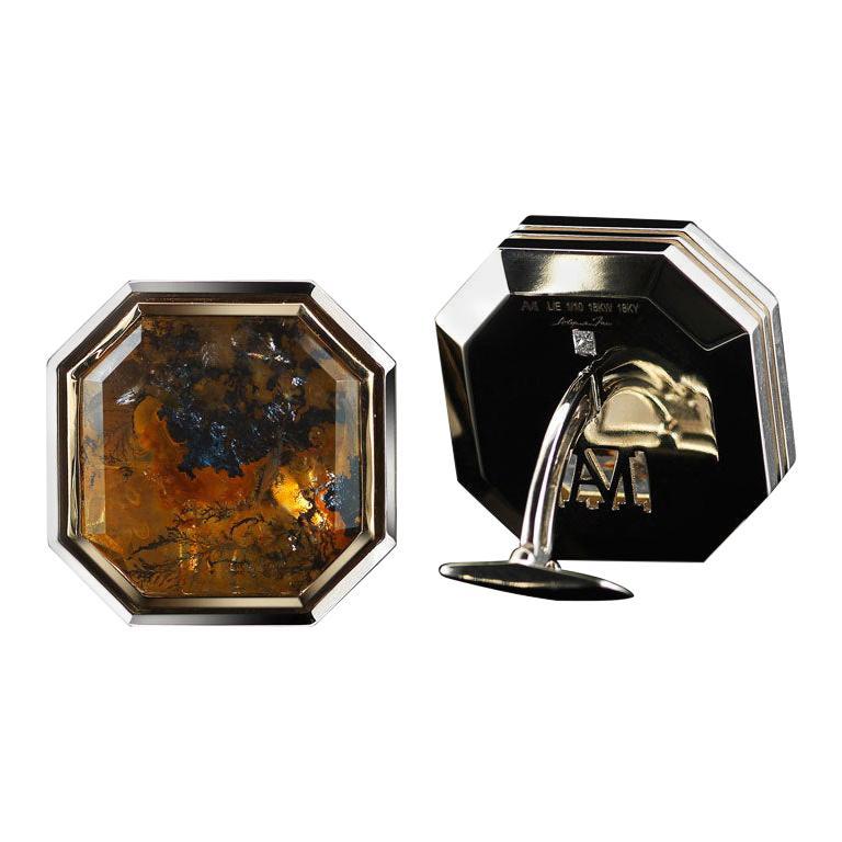 Alexandra Mor Father's Day Dendritic Quartz and Diamond Gold Cufflinks L/E 2/10 For Sale