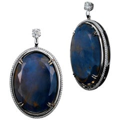 Alexandra Mor Sapphire and Diamond Dangling Earrings