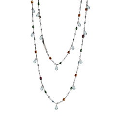Alexandra Mor Sautoir Necklace with Color Gemstone, Diamond and White Briolette