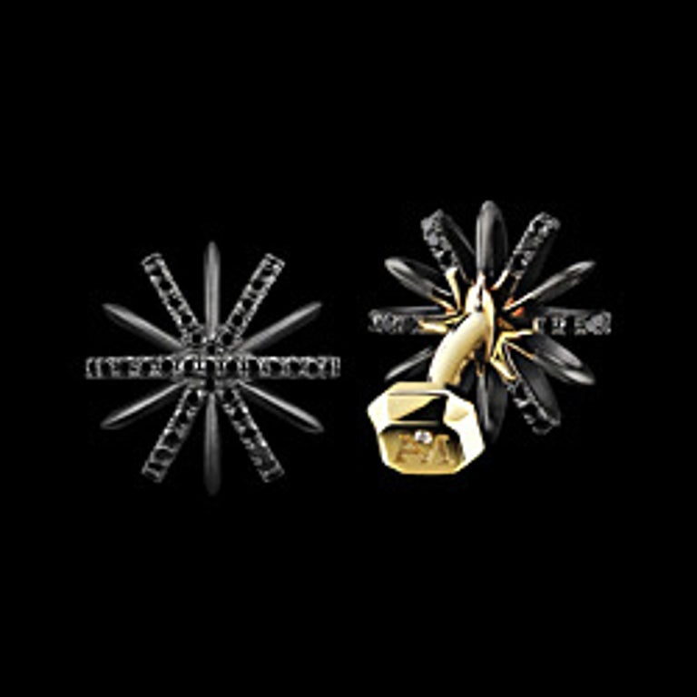 An Alexandra Mor signature Limited Edition Signature Black Diamond and palladium snowflake cufflinks feature one hundred thirty 1MM Diamond Melle. Palladium set in 18 Karat yellow gold with a noir-satin finish and Alexandra Mor logo. Also available