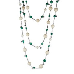 Alexandra Mor Tagua and Muzo-Mine Emerald Nuggets and Beads Sautoir Necklace