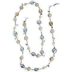 Alexandra Mor Tagua and South Sea Pearl Sautoir Necklace