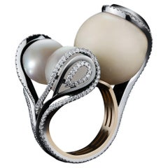 Alexandra Mor Wild Tagua-Seed, Pearl and Diamond Sphere Ring