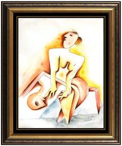 Alexandra Nechita Original Watercolor Painting Cubism Portrait Signed Framed Art