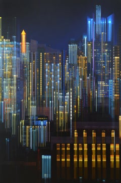 ASCENDING GLOW, city at night, cityscape, vibrant colors, NYC