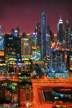 Desert City, city at nights, city lights, hyper-realist, cityscape, vivid colors