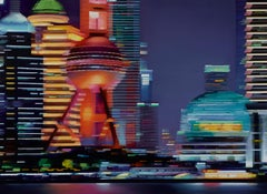 Entrancing Pudong, Contemporary City Oil Painting, Electric, Neon, Futuristic