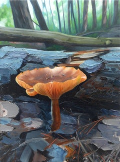 MUSHROOM I, photo-realism, orange mushroom, fallen trees, forest landscape