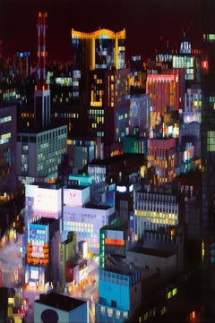 Shimbashi Glow, Contemporary Realism, Futuristic, Cityscape, Night, Electric