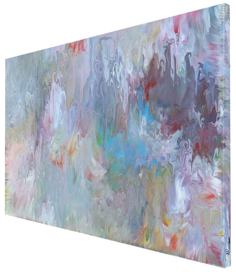 Divine Mother is an original, large, one of a kind abstract expressionism painting that exudes the power of creation. The subtle tones of warm and cool grey, pink, white and violet create a muted palette that gives off a feminine energy,