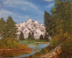 Mystic Mountains  20 x 16 IN, Painting, Oil on Canvas