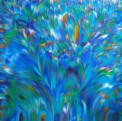 Peacock IV, Original Abstract Feathers, Painting, Acrylic on Canvas