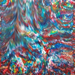 Psychedelic Waterfall No. 4  36 x 36 IN, Painting, Acrylic on Wood Panel