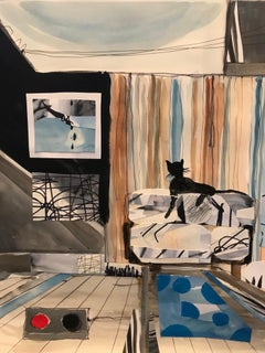 """A Cat - the Art Collector"", watercolor, collage, grey, blue, brown, black"