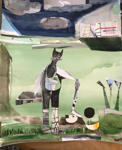 """Cat-a-Mailman"", watercolor, collage, whimsical, landscape, green, blue, clouds"