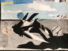 """New Feathers"", watercolor, collage, angel, landscape, black, grey, blues"