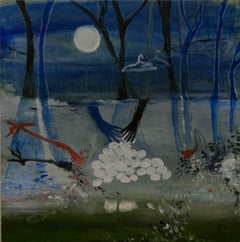 """Clean Hands"", oil painting, night scene, dark, blue, white, black, red"