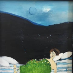 """""""Early Spring"""", oil painting, dreamscape, girl, blue, green, black"""