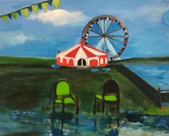 """Morning of the First Act"", Alexandra Rozenman, oil painting, circus, chairs"