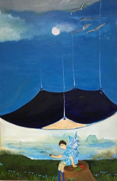 """""""Redon's Spirit"""", oil painting, landscape, blue, white, green"""