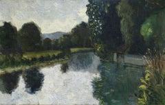 Automne - 20th Century Russian Oil, Riverscape Landscape by Alexandre Altmann