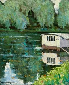 Bateaux Lavoir sur la Seine - Post Impressionist Oil, Riverscape by A Altmann