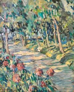 Chemin Fleuri - Post Impressionist Oil, Trees in Landscape by Alexandre Altmann