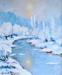 Coucher de Soleil - Hiver - Post Impressionist Oil, Snowy Riverscape by Altmann